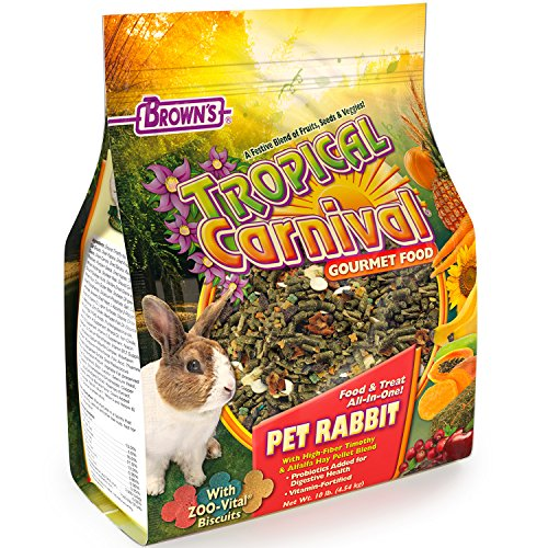 (F.M. Brown's Tropical Carnival Gourmet Pet Rabbit Food with High-Fiber Timothy and Alfalfa Hay Pellets - Probiotics for Digestive Health, Vitamin-Nutrient Fortified Daily Diet)