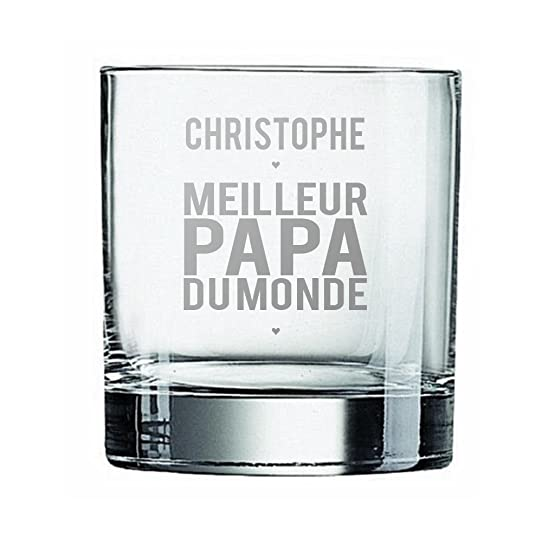 Verre À Whisky Personnalisé Avec Un Prénom Design Meilleur Papa