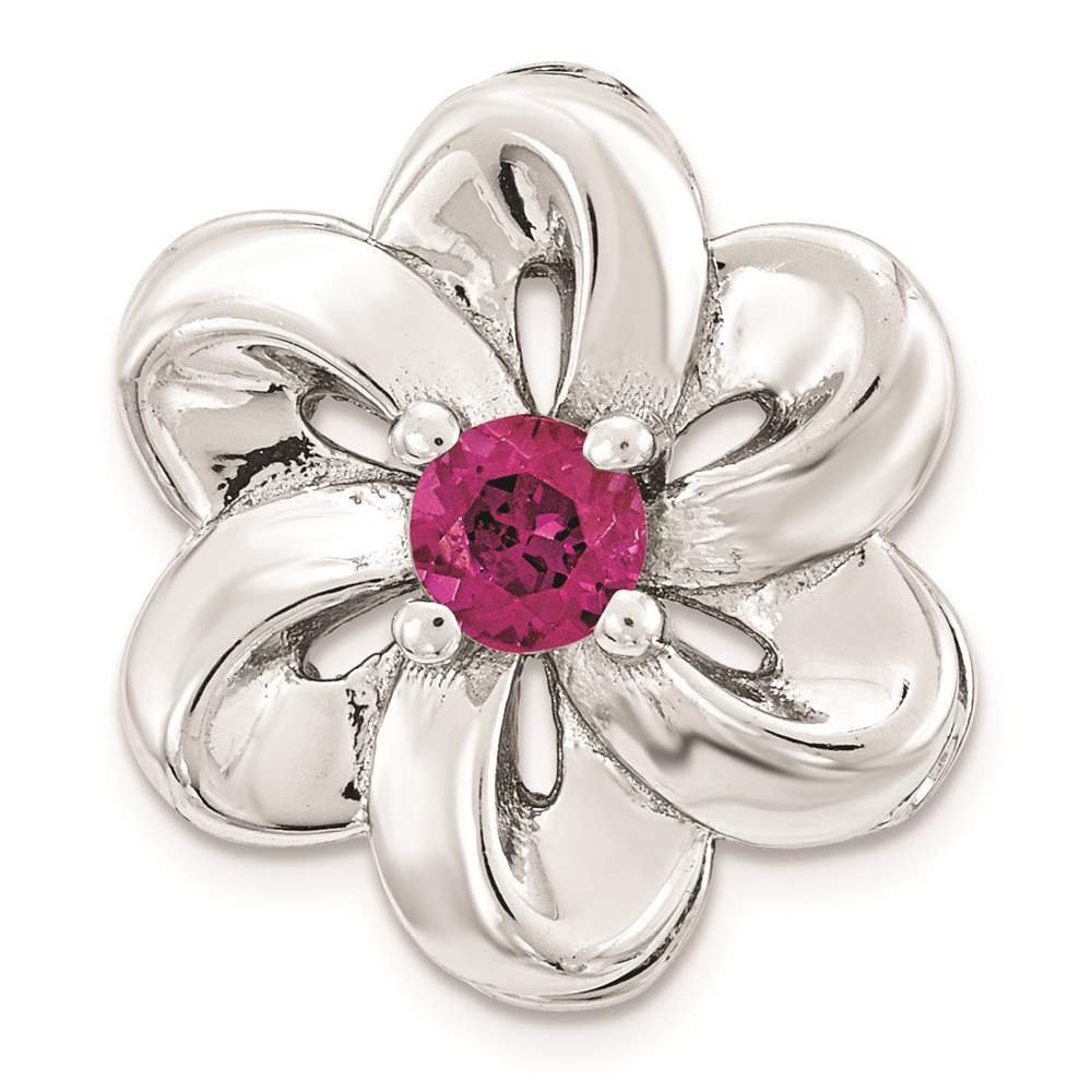 925 Sterling Silver Small Polished Created Ruby Flower Chain Slide by Stackable Expressions