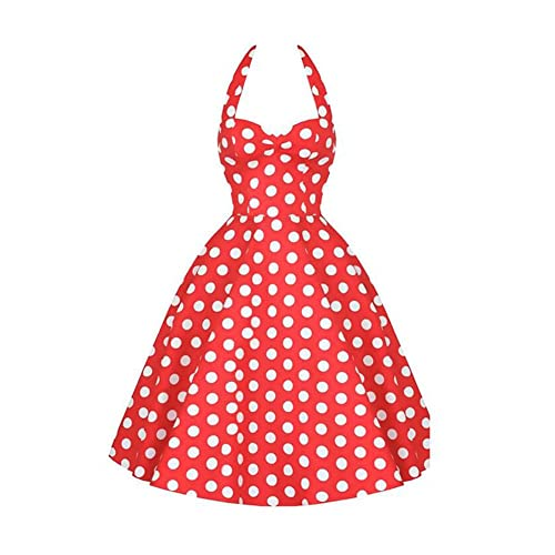 Meijunter 50s Garden Party Vintage Pois Halter Vestito Da Cocktail Swing Moda Donna