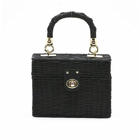 0a68cbd6cf WIEJDHJ Women Handmade Flap Beach Shoulder Bag Bali Black Straw Bags Summer  Woven Rattan Handbags Women