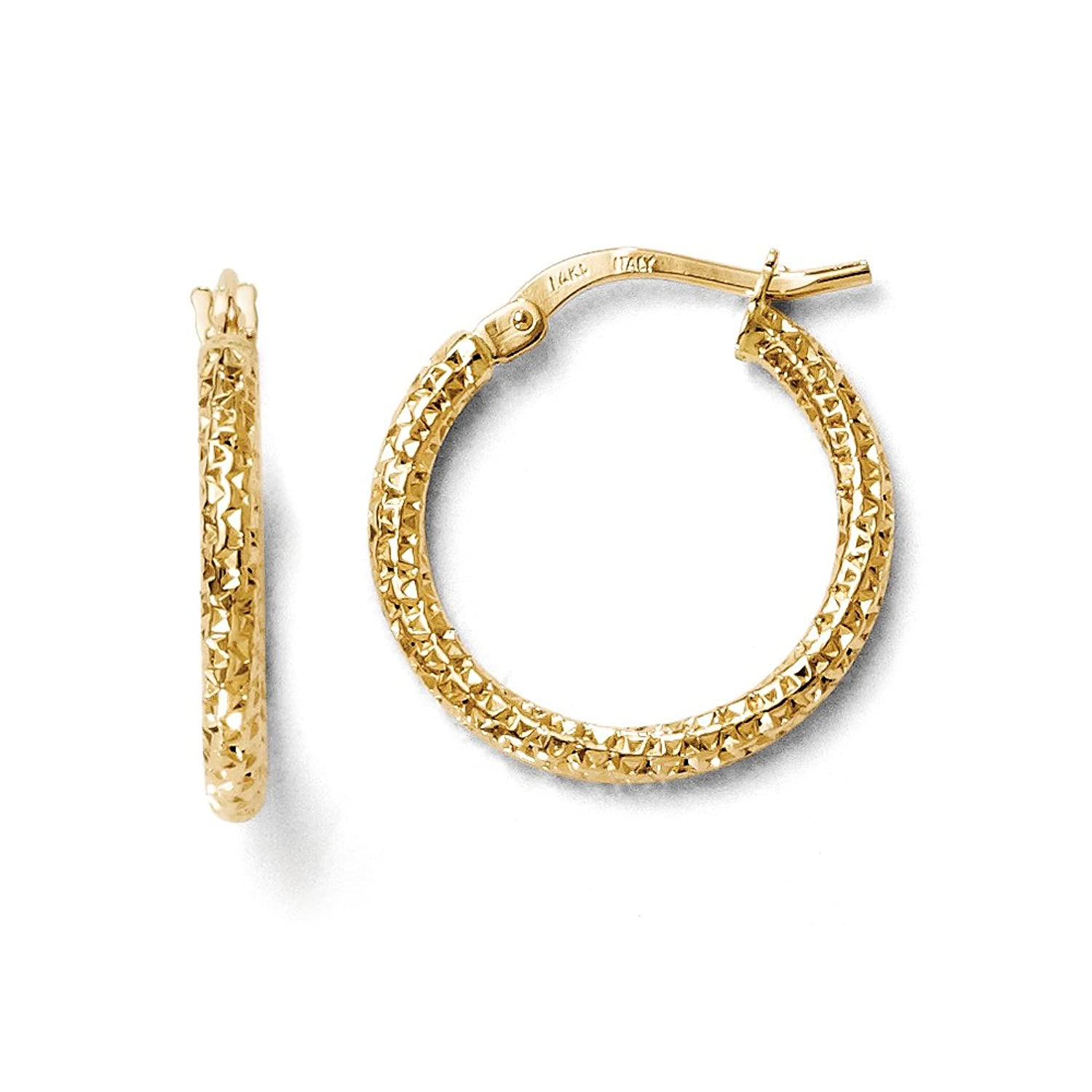 Amazon 2mm Textured Round Hoop Earrings in 14k Yellow Gold