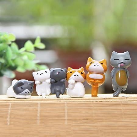 Cutelove - Juego de 6 Adornos en Miniatura de Animales para Jardín ...