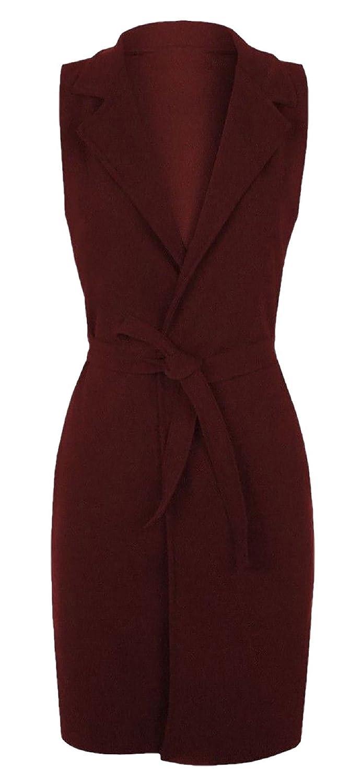 DIGITAL SPOT Womens Plain Belted Crepe Open Waistcoat Ladies Sleeveless Long Italian Jacket UK 8-26