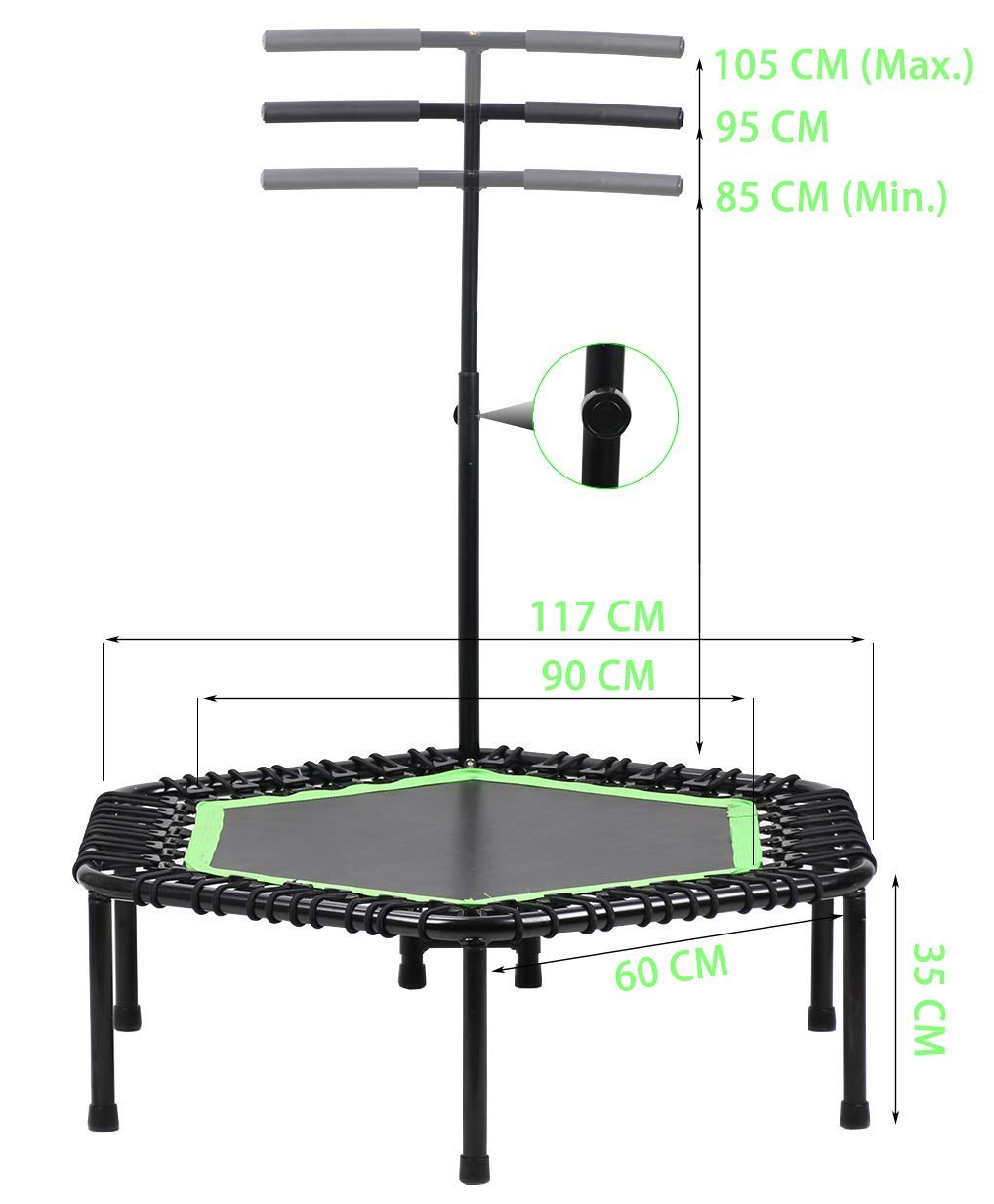 Max Limit 250 lbs Fitness Trampoline for Aerobic Exercise Training and Lose Weight and Weight Control LANGXUN 46 Mini Trampoline with Adjustable Handrail Bar