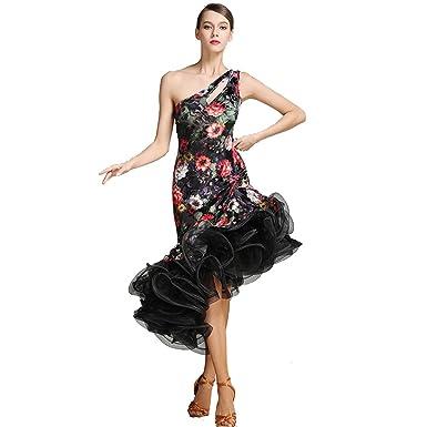 Women Sexy Backless Exquisite South Korea Thin Velvet Fabric,Embroidery Flower Salsa Flamenco Ballroom Dance