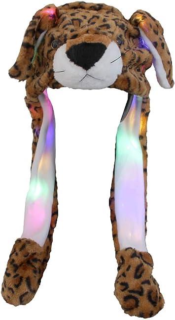 Divertente Cappello Criceto Grigio con Luci LED Peluche Che muove Le Orecchie Cappuccio Taglia Unica per Bambini e Adulti Berretto Accessorio Invernale con Orecchi Mobili