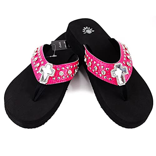Isabella Women Western Rhinestone Bling Concho Flip Flops Sandals