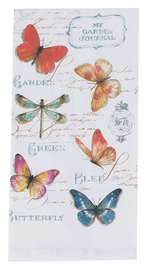Kay Dee Designs R3503 My Journal Butterfly Garden Krinkle Flour Sack Towel