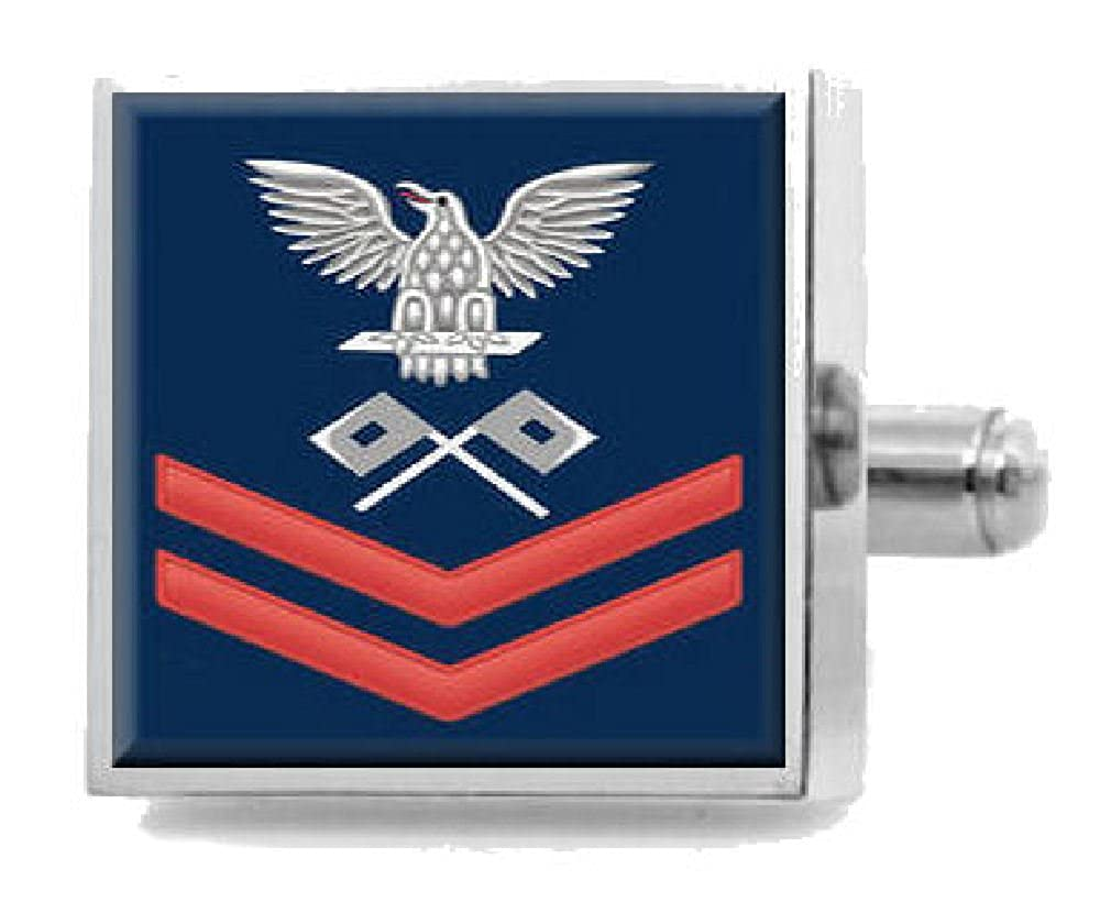 Select Gifts Sterling Engraved Cufflinks U.S Navy Red E-5 Signalman SM