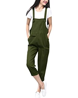 9a5cbb0c29 StyleDome Women s Sleeveless Overall Strappy Pocket Jumpsuit Romper Bib  Trousers