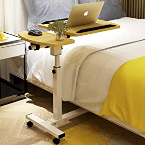 Overbed Table Laptop Table Bed Computer Tilt Bedside Table Notebook Stand Tiltable Tabletop Sofa Couch Bed Side Table Reading Table Stand Tray Angle Height with Wheels