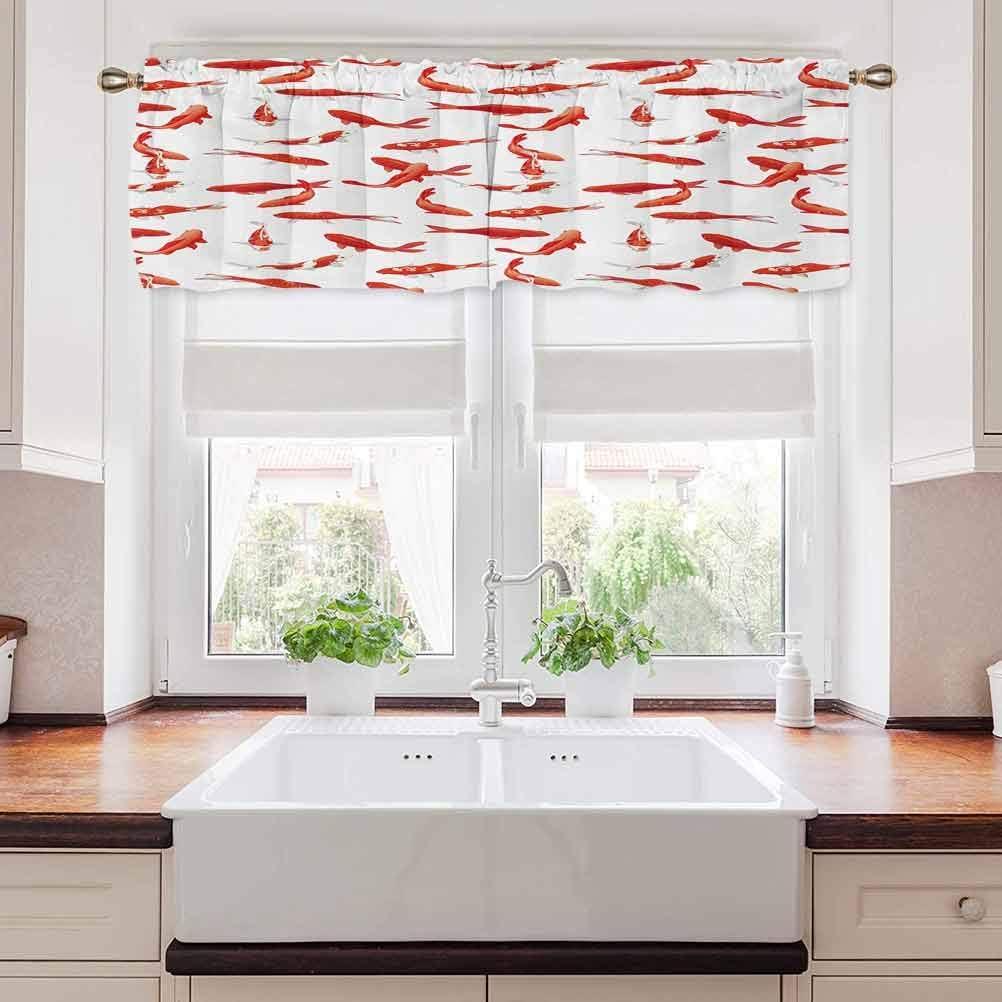 Koi Fish Window Treatment Supplies, Japanese Exotic Koi Fish Figure Common Carp Calm Water Garden Graphic Design, 54
