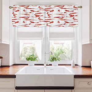"Koi Fish Bedroom Valances for Windows, Japanese Exotic Koi Fish Figure Common Carp Calm Water Garden Graphic Design, 54"" x 18"", Orange"