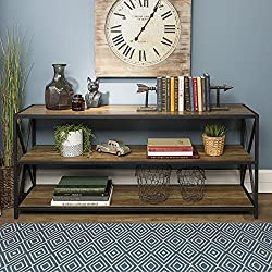 "WE Furniture AZS60XMWRO Wood Console Table, 60"", Rustic Oak"