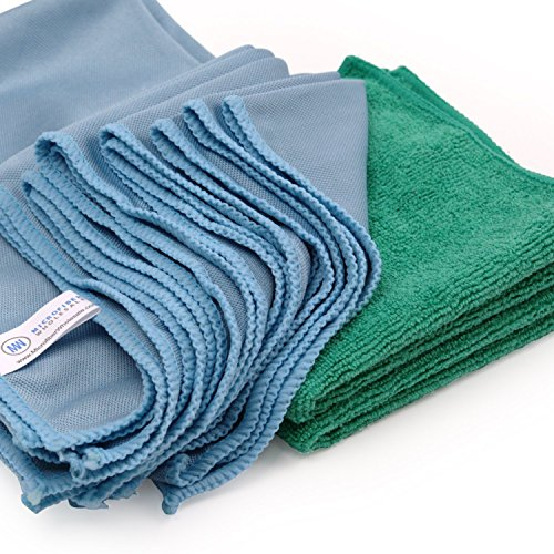 Microfiber Glass Cleaning Cloths - 8 Pack | Lint Free - Streak Free | Quickly and Easily Clean Windows & Mirrors Without Chemicals ()