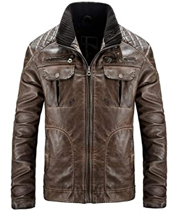 23a300ed0 WEI HUI Men's Fashion Motorcycle Leather Casual Jacket Old Leather ...