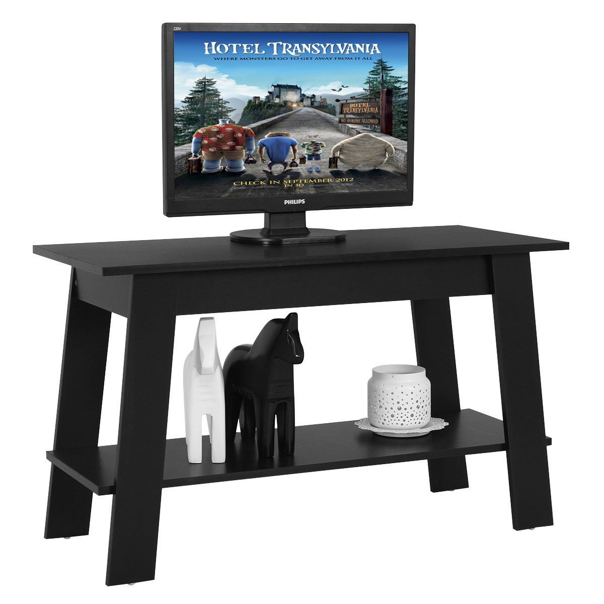 2 Tier Elevated Multipurpose Storage Console TV Stand - By Choice Products