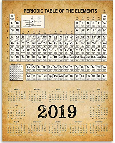 2019 Calendar - Periodic Table of Elements - 11x14 Unframed Calendar Art Print - Great Calendar for Science Labs -