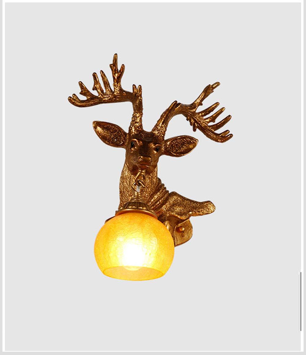 Cervo testa corno retrò stile resina lampada da parete 1 lampada, villaggio rurale lampada da parete Corn, soggiorno, bar, Cafe,rightside