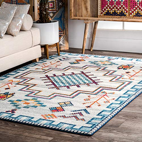 "nuLOOM Richelle Tribal Medallion Area Rug, 8' 10"" x 12', Blue from nuLOOM"