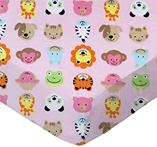 product image for SheetWorld Fitted 100% Cotton Flannel Cradle Sheet 18 x 36, Animal Faces Pink, Made in USA