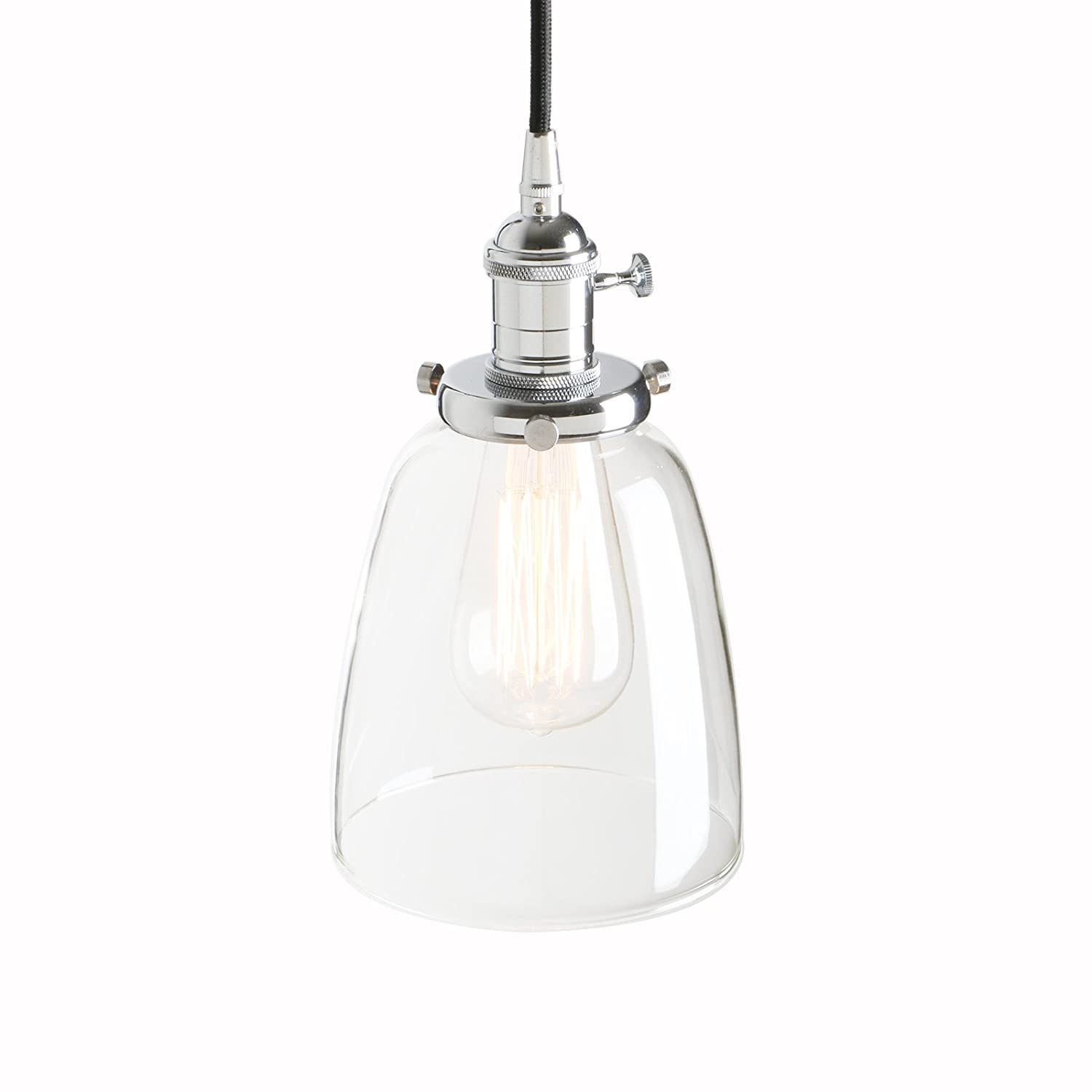 Pathson industrial vintage modern edison hanging pendant ceiling light fixture loft bar kitchen chandelier decorative lighting with bell clear glass light