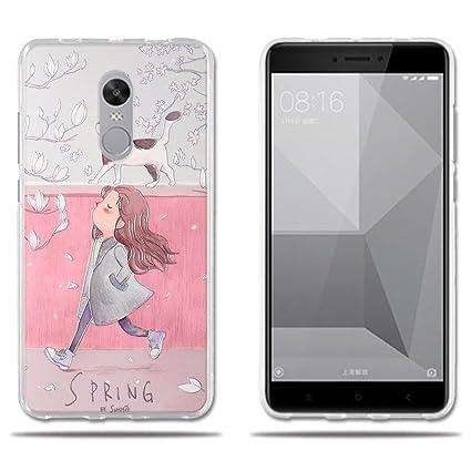 FUBAODA Funda Xiaomi Redmi Note 4X,Protector de Silicona TPU y Fino,Dibujos Chica Guapa y Gato en Primavera Resiste a los Arañazos,Carcasa ...