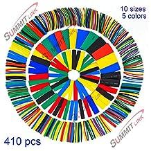 SummitLink® 410 Pcs Assorted Heat Shrink Tube 5 Colors 10 Sizes Tubing Wrap Sleeve Set Combo