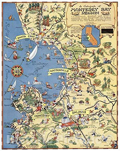 Historic Map | A Cartograph of Monterey Bay Region, Monterey Bay Region. 1932 | Vintage Wall Art | 24in x 30in