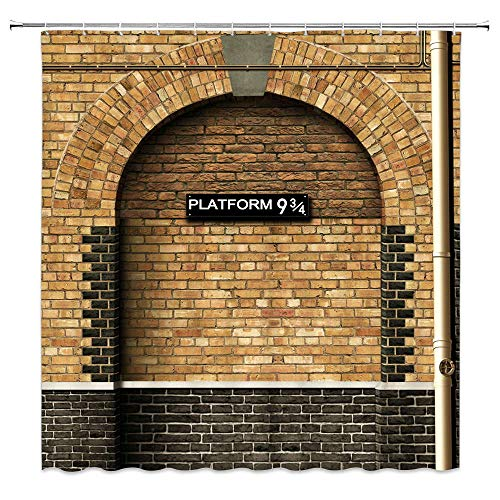 Feierman Platform 9 3/4 Shower Curtain Of Kings Cross Station, Secret Passage To The Magic School Shower Curtain Vintage Brown Brick Wall Fabric Shower Curtain 70x70Inches