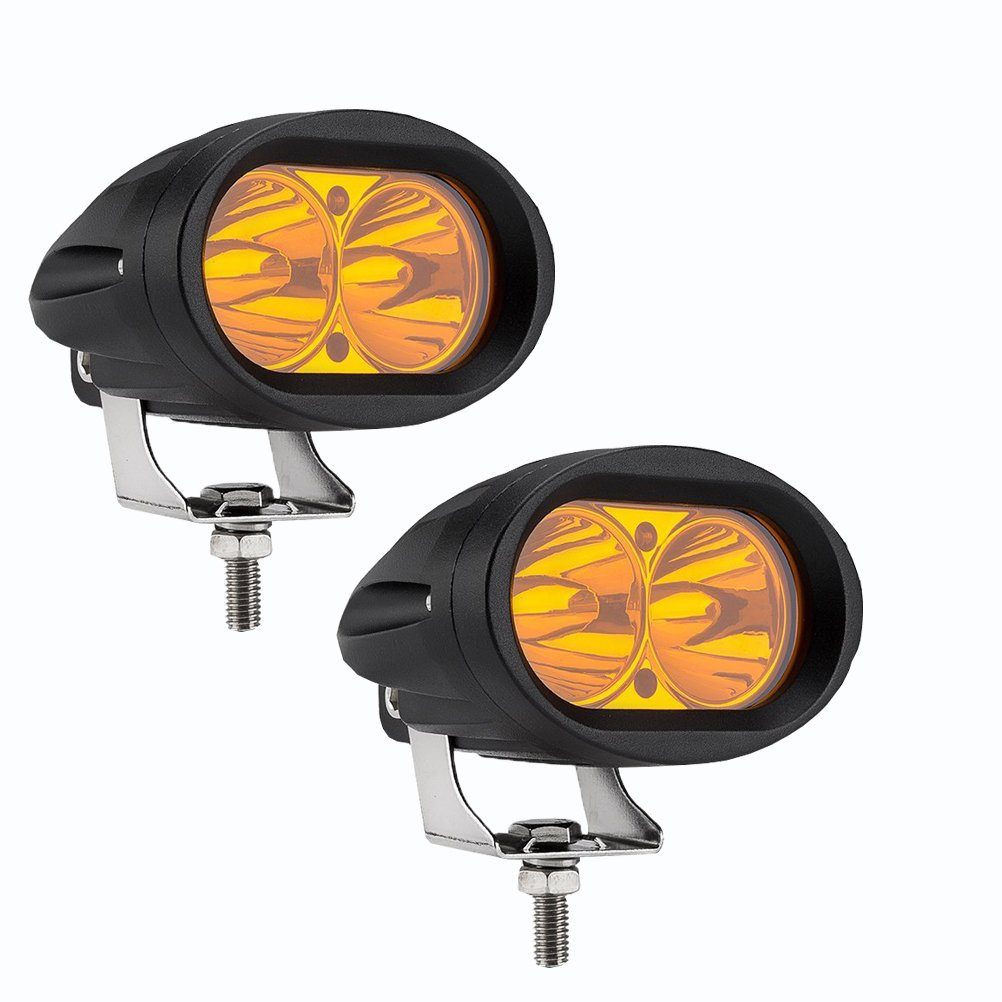 Ralbay 2Pcs Amber Color LED Motorbike Motorcycle Driving Lights 20W 4 Inch Reflected Lens Led Truck Lights Heavy Duty LED Work Light for Cars//Jeep Wrangler//4x4-Jeep