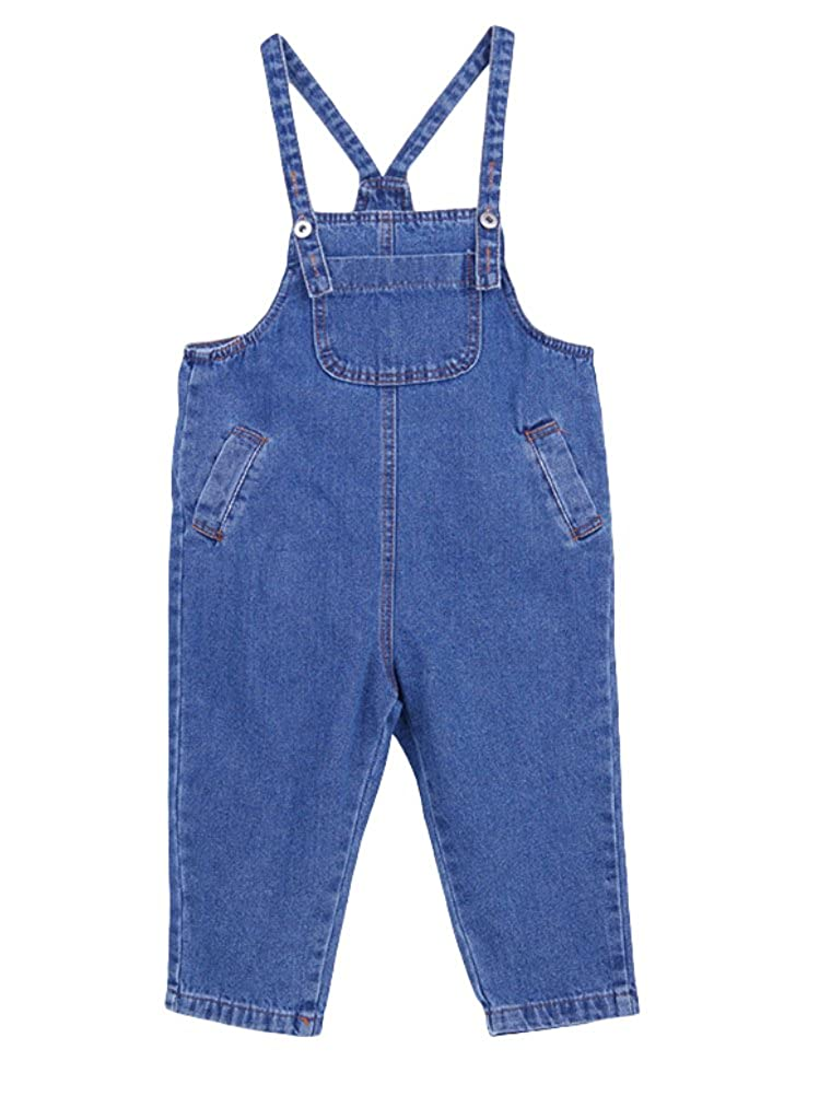 Mallimoda Girl's Haren Denim Bib Overalls Jeans Jumpsuit Pants