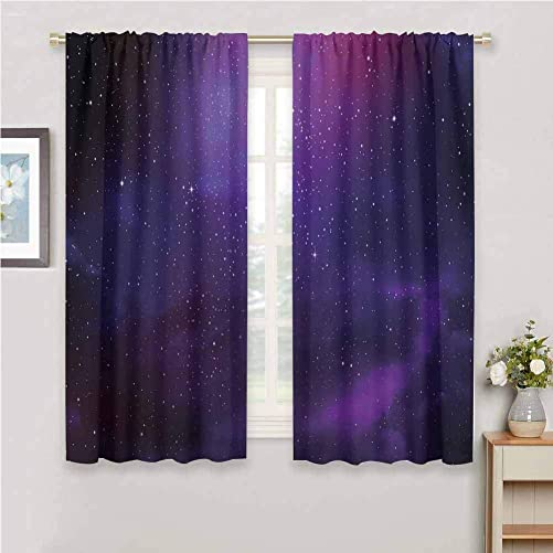 Sky Curtain Extra Long Galaxy Nebula Illustration Deep Space Star Clusters and Constellation Milky Way Curtains with Valance W52 x L63 Purple Pink Black