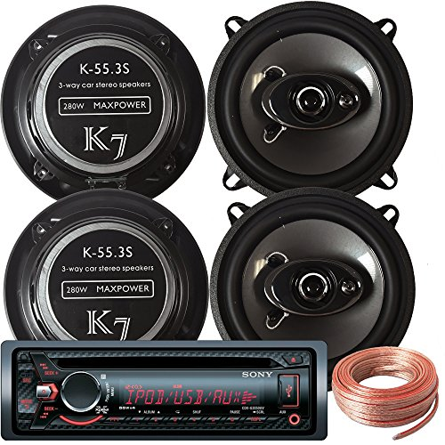 Sony Package - Sony CDX-G3050UV In-Dash CD/MP3/AM/FM Receiver + 2 Pairs Of K-55.3S 5.25-Inch 5-1/4