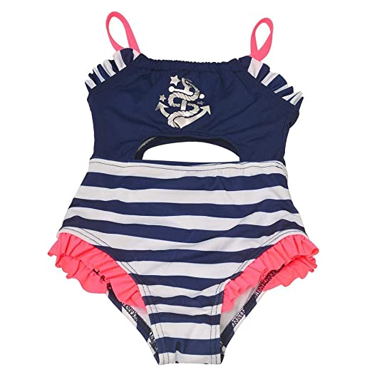 9726e0dfe2587 Penelope Mack Baby Girls Navy Stripe Anchor Detail One Piece Swimsuit 12M