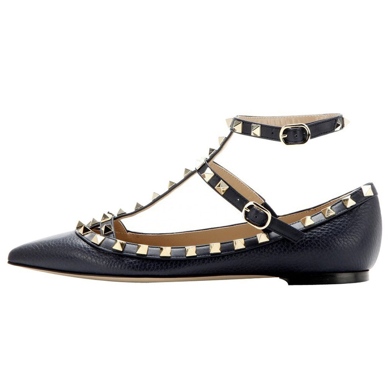 VOCOSI Women's Ankle Strap Studded Pointed Toe Pumps Rivets T-Strap Flat Pumps Dress B07B684Q9H 10.5 B(M) US|Black(pattern With Gold Rivets)