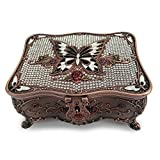 Classic Vintage Antique Tin Rectangle Jewelry Box Treasure Storage Organizer Chest with diamond Pattern