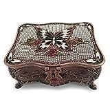 Magicpro Classic Vintage Antique Tin Rectangle Jewelry Box Treasure Storage Organizer Chest diamond Pattern