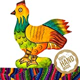 Chicken Wooden Wall Art Decor from Guatemala. Hand Carved & Made With 100% Real Wood. Perfect For Living Room & Bedroom Wall Hangings and Home Art Decorations!