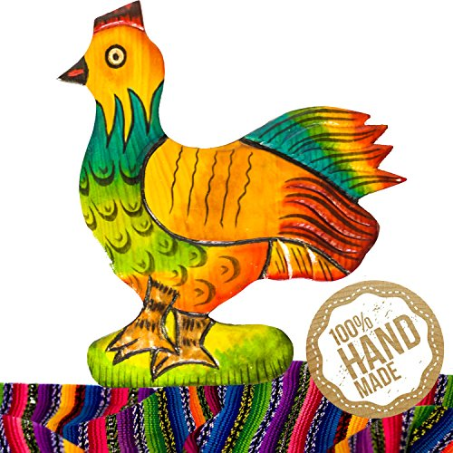 Chicken Wooden Wall Art Decor from Guatemala. Hand Carved & Made With 100% Real Wood. Perfect For Living Room & Bedroom Wall Hangings and Home Art Decorations! (Hand Carved Wooden Mantel)
