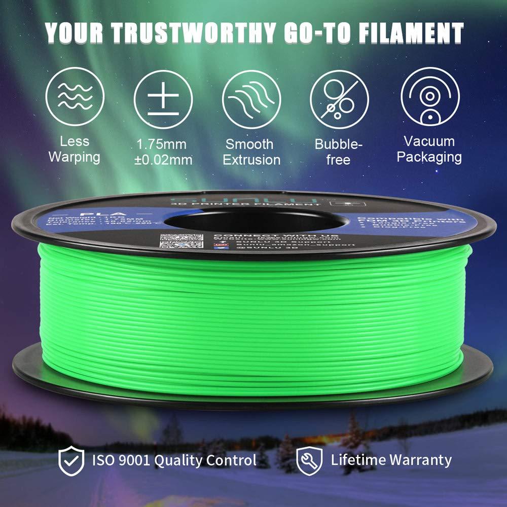 1kg Spool 3D Printing Filament Luminous Blue Dimensional Accuracy +//- 0.02 mm for 3D Printer and 3D Pen SUNLU Glow in The Dark PLA Filament 1.75 mm 3D Printer Filament