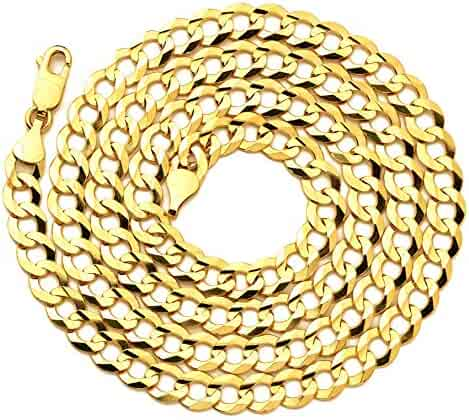 LoveBling 14K Yellow Gold 7mm Plain Solid Curb Cuban Necklace W/Lobster Lock (18