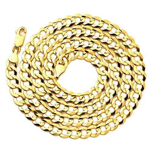 LoveBling 14K Yellow Gold 7mm Plain Solid Curb Cuban Necklace W/Lobster Lock (30