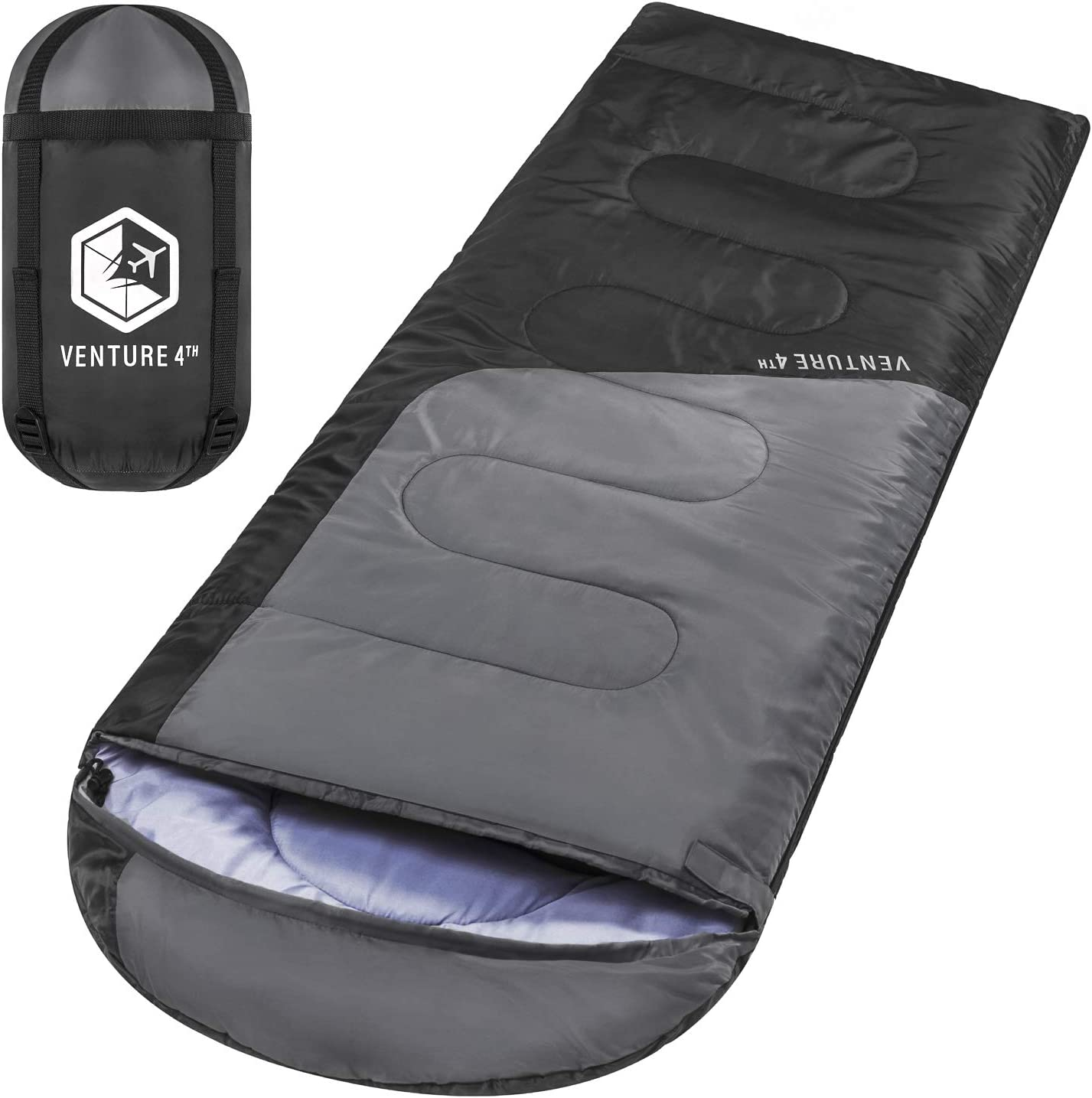VENTURE 4TH Backpacking Sleeping Bag – Lightweight, Comfortable, Water Resistant, 3 Season Sleeping Bag for Adults & Kids – Ideal for Hiking, Camping ...