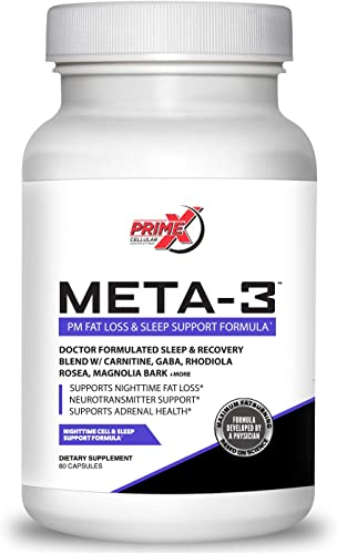 Dr. Eric Prime X Meta-3 Keto Night time Fat Burner and Sleep Aid Supplement for Men and Women 60 Veggie Capsules Stimulant-Free Night Time Fat Burner