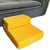 2 Steps Foldable Pet Dog Cat Stairs Steps For Small Dog Breathable Mesh Dog Mat Cushion Bed Steps Ramp With Detachable Cover Pet Product (2 STEPS, Yellow)