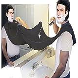 Barba Bib,ANGTUO rasatura con Ventose barba rasata Barba Sciarpa Grembiule Collection Styling strumenti per mantenere il bagno pulito,Nero
