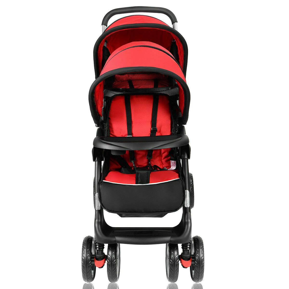 Cozinest Foldable Twin Baby Double Stroller Kids Jogger Travel Infant Pushchair Red by Cozinest (Image #7)