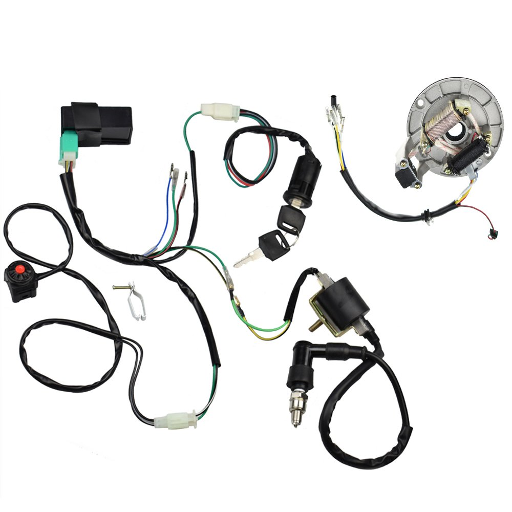 Minireen Kick Start Dirt Pit Bike Wire Harness Wiring Loom CDI Ignition Coil Magneto Spark Plug Rebuild Kit for 50cc -125cc Stator CDI Coil ATV Quad Bike Buggy Go Kart